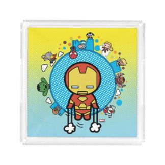 Kawaii Iron Man With Marvel Heroes on Globe Acrylic Tray