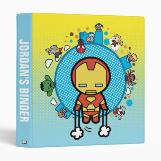 Kawaii Iron Man With Marvel Heroes on Globe Binder