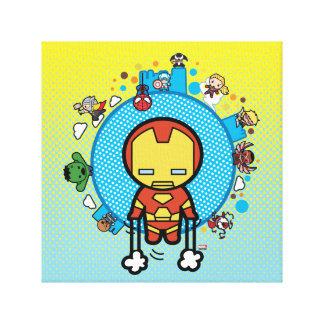Kawaii Iron Man With Marvel Heroes on Globe Canvas Print