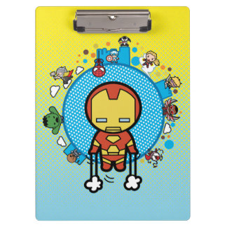 Kawaii Iron Man With Marvel Heroes on Globe Clipboard