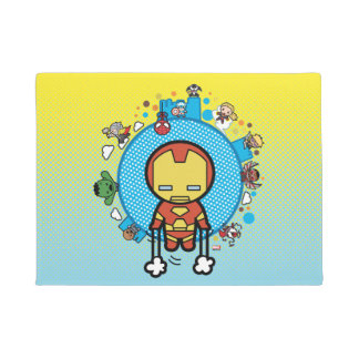 Kawaii Iron Man With Marvel Heroes on Globe Doormat