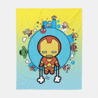 Kawaii Iron Man With Marvel Heroes on Globe Fleece Blanket