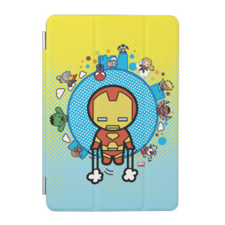 Kawaii Iron Man With Marvel Heroes on Globe iPad Mini Cover