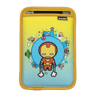Kawaii Iron Man With Marvel Heroes on Globe iPad Mini Sleeve