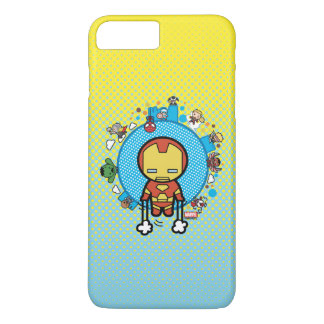 Kawaii Iron Man With Marvel Heroes on Globe iPhone 8 Plus/7 Plus Case