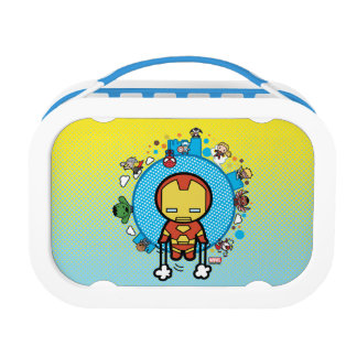 Kawaii Iron Man With Marvel Heroes on Globe Lunch Box