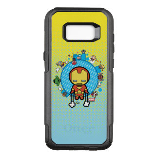Kawaii Iron Man With Marvel Heroes on Globe OtterBox Commuter Samsung Galaxy S8+ Case