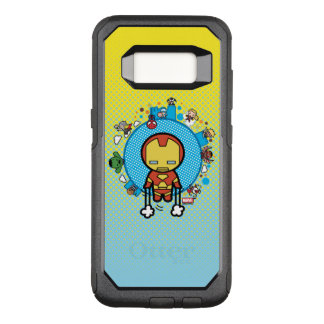 Kawaii Iron Man With Marvel Heroes on Globe OtterBox Commuter Samsung Galaxy S8 Case