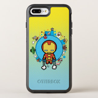 Kawaii Iron Man With Marvel Heroes on Globe OtterBox Symmetry iPhone 8 Plus/7 Plus Case