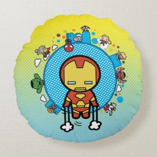 Kawaii Iron Man With Marvel Heroes on Globe Round Pillow