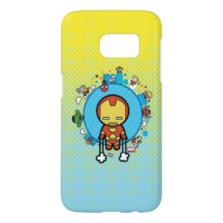 Kawaii Iron Man With Marvel Heroes on Globe Samsung Galaxy S7 Case
