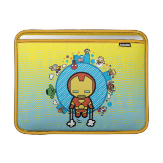 Kawaii Iron Man With Marvel Heroes on Globe Sleeve For MacBook Air
