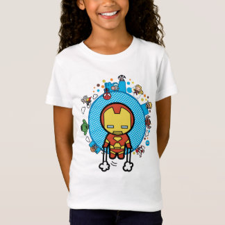 Kawaii Iron Man With Marvel Heroes on Globe T-Shirt