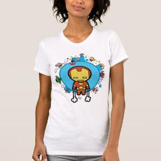 Kawaii Iron Man With Marvel Heroes on Globe T-Shirt