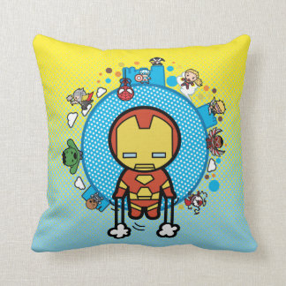 Kawaii Iron Man With Marvel Heroes on Globe Throw Pillow