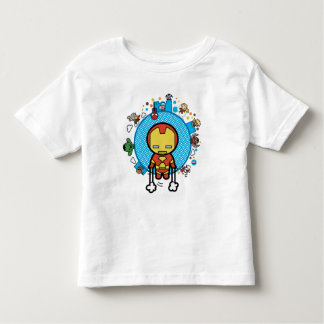 Kawaii Iron Man With Marvel Heroes on Globe Toddler T-shirt