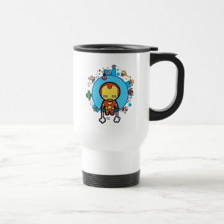 Kawaii Iron Man With Marvel Heroes on Globe Travel Mug