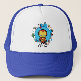 Kawaii Iron Man With Marvel Heroes on Globe Trucker Hat