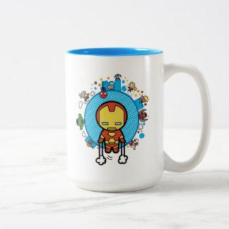 Kawaii Iron Man With Marvel Heroes on Globe Two-Tone Coffee Mug