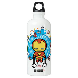 Kawaii Iron Man With Marvel Heroes on Globe Water Bottle