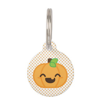 Kawaii Jack O Lantern Pumpkin Dog Tag