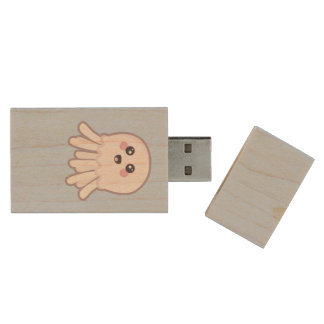 Kawaii Jellyfish Wood USB Flash Drive