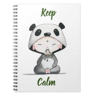 Kawaii// Keep Calm // Panda Ears Notebook