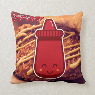 Kawaii Ketchup Throw Pillow
