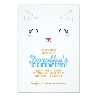kawaii kitty CAT BIRTHDAY party invitation BLUE