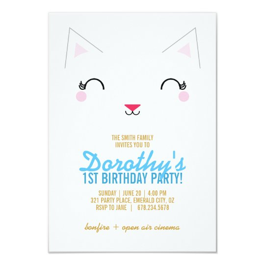 kawaii kitty CAT BIRTHDAY party invitation BLUE