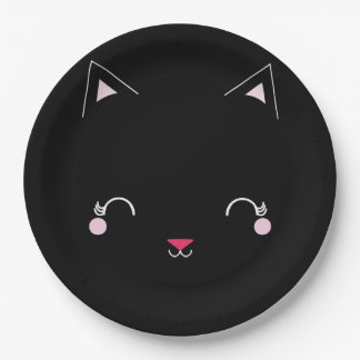 kawaii kitty CAT BIRTHDAY party plate BLACK