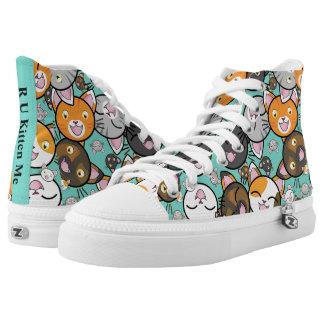 Kawaii Kitty Faces Top ZipZ Tennis Shoes
