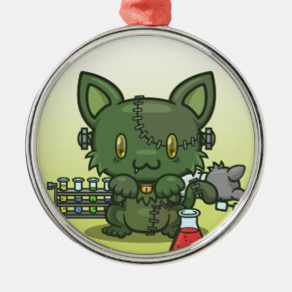 Kawaii Kitty (Frankenstein's Monster) Silver-Colored Round Ornament