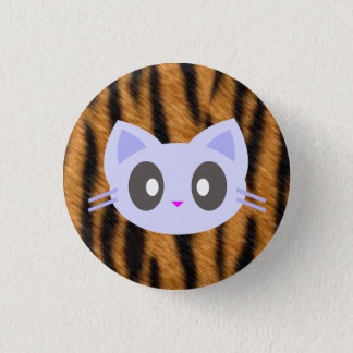 kawaii kitty tiger print 1 inch round button