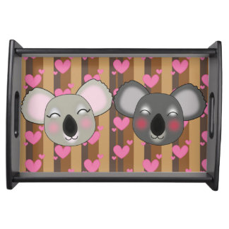 Kawaii koalas in love serving tray