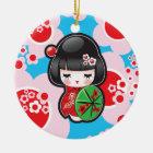 Kawaii Kokeshi Doll Ceramic Ornament