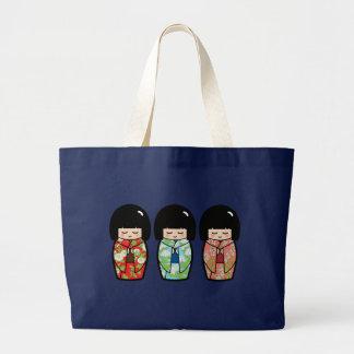 Kawaii Kokeshi Dolls Japanese Doll Tote Bag