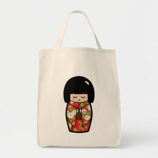 Kawaii Kokeshi (Red) Japanese Doll Tote Bag
