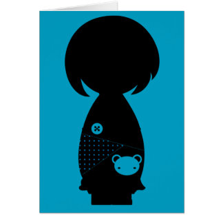 Kawaii Kokeshi Silhouette Note Card