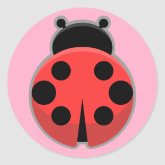 Kawaii Ladybug Round Sticker