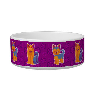Kawaii Long and Short Hair Yorkie Cartoon Dogs Bowl