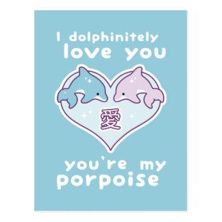 Kawaii Love Dolphins Postcard