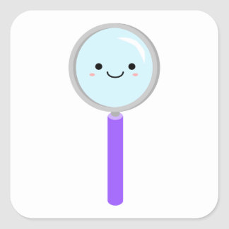 Kawaii magnifying glass square sticker