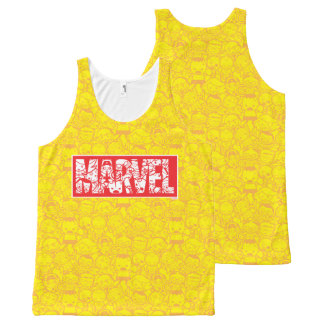 Kawaii Marvel Logo With Super Hero Pattern All-Over-Print Tank Top