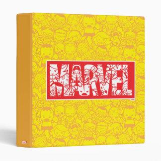 Kawaii Marvel Logo With Super Hero Pattern Binders