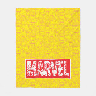 Kawaii Marvel Logo With Super Hero Pattern Fleece Blanket