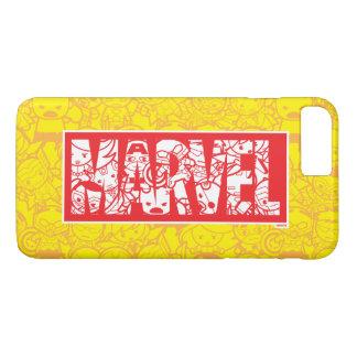 Kawaii Marvel Logo With Super Hero Pattern iPhone 8 Plus/7 Plus Case