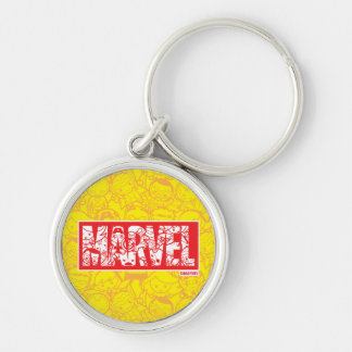 Kawaii Marvel Logo With Super Hero Pattern Keychain