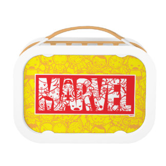 Kawaii Marvel Logo With Super Hero Pattern Lunch Box