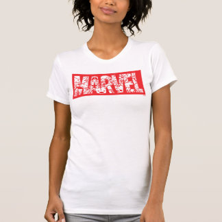 Kawaii Marvel Logo With Super Hero Pattern T-Shirt